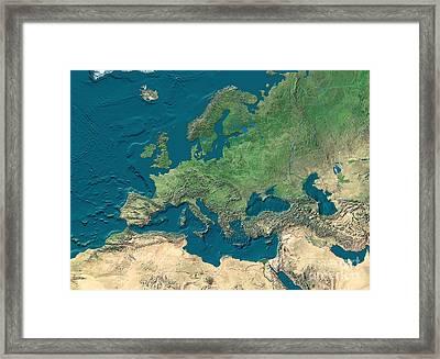 Europe And Northern Africa, Satellite Framed Print by WorldSat International Inc.