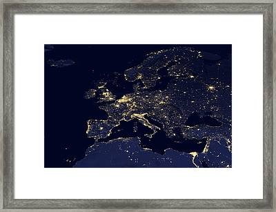 Europe At Night, Satellite Image Framed Print by Science Photo Library