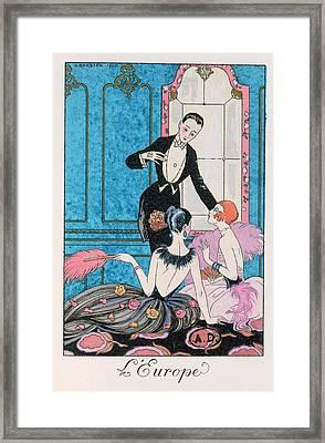 'europe' Illustration For A Calendar For 1921 Framed Print by Georges Barbier