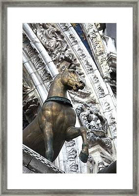 Europe Italy Venice Horse Statue On San Framed Print by Terry Eggers