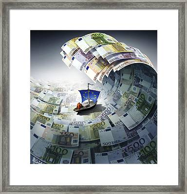 Europe Sinking In Debt, Conceptual Image Framed Print by Science Photo Library