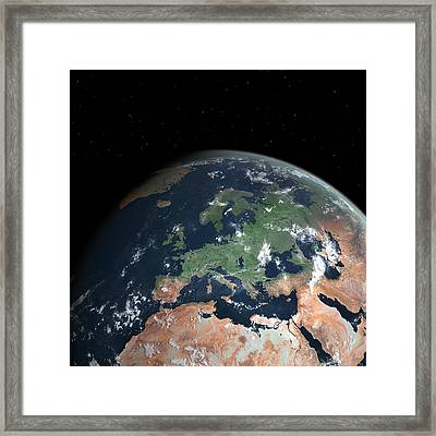 Europe With Sea Level Rise Framed Print by Walter Myers