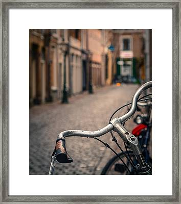European Bicycle Scene Framed Print
