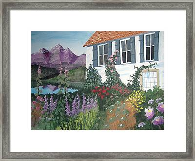 Framed Print featuring the painting European Flower Garden by Norm Starks