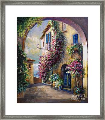 European Town Scene By The Ocean Framed Print