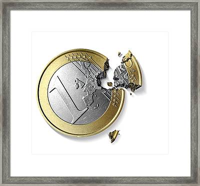 Eurozone Break-up, Conceptual Image Framed Print by Science Photo Library