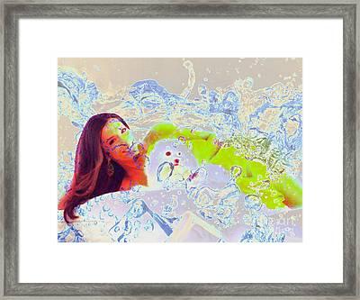 Eva Longoria In Icy Water Framed Print