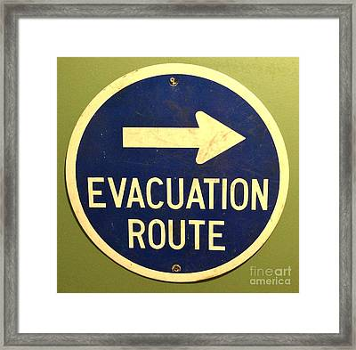 Evacuation Route Framed Print by M West