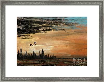 Evading A Storm Framed Print by R Kyllo