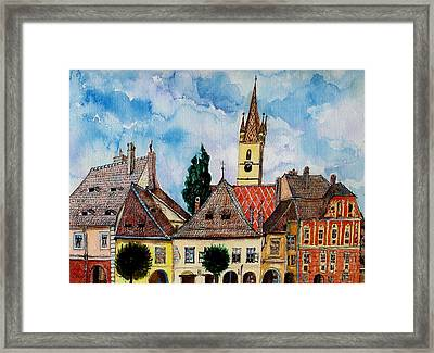 Evangelical Church Tower From Sibiu Transylvania Framed Print by Ion vincent DAnu