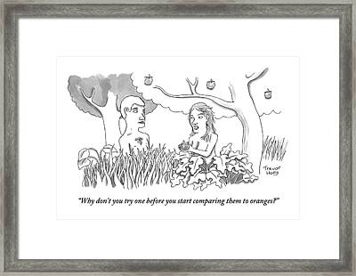 Eve Hands An Apple To Adam In The Garden Of Eden Framed Print
