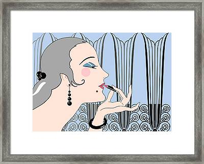 Eve In Blue And Gray Framed Print by Nancy Lorene