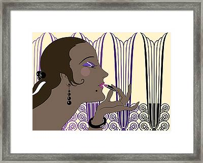 Eve In Cream And Purple Framed Print by Nancy Lorene