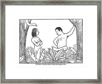 Eve Is Seen Speaking With Adam Who Is Examining Framed Print by Alex Gregory