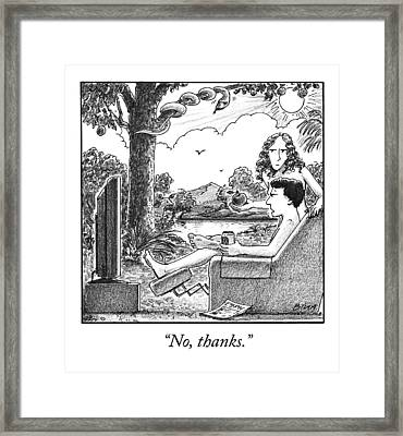 Eve Offers Adam An Apple Framed Print