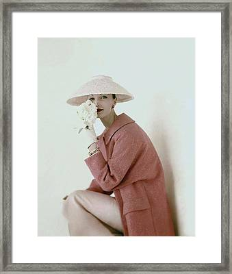 Evelyn Tripp Wearing Pink Framed Print by Karen Radkai