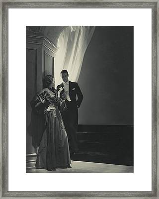 Evelyne Greig In A Lanvin Gown Framed Print by Horst P. Horst
