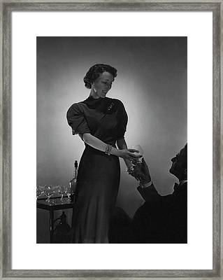 Evelyne Greig Modeling A Dress Framed Print by Horst P. Horst