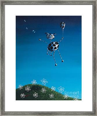 Even Cows Have Strange Dreams By Shawna Erback Framed Print by Shawna Erback