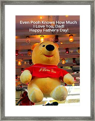 Even Pooh Knows Card Framed Print