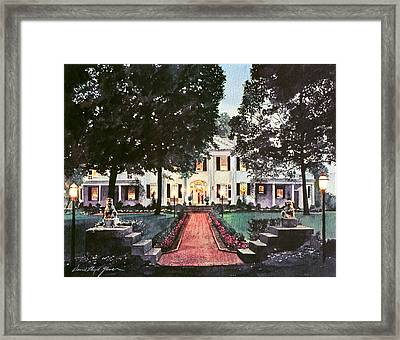 Evening At The Governor's Mansion Framed Print by David Lloyd Glover