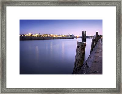 Evening At The Port Of Hamburg Framed Print