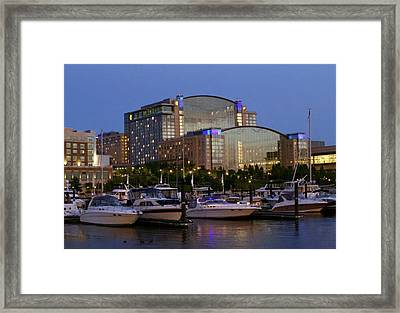 Evening At Washington National Harbor Framed Print