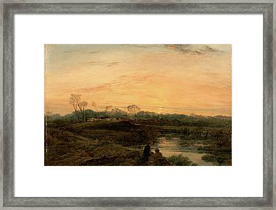 Evening, Bayswater Signed And Dated In Brown Paint Framed Print by Litz Collection