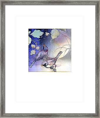 Evening Birds On Moonlit Night Framed Print