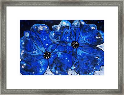 Evening Bloom Blue Flowers By Sharon Cummings Framed Print