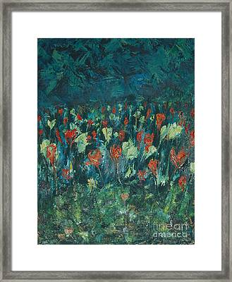 Framed Print featuring the painting Evening Buds by Mini Arora