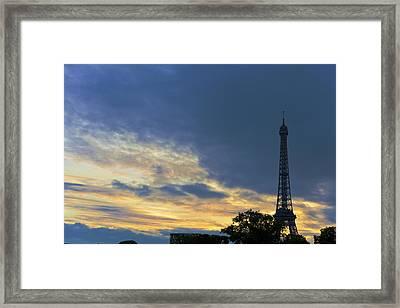 Evening By The Eiffel Tower Framed Print by Maj Seda