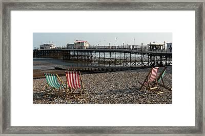 Evening By The Pier Framed Print by John Topman