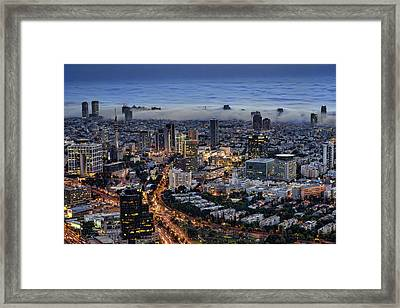 Framed Print featuring the photograph Evening City Lights by Ron Shoshani