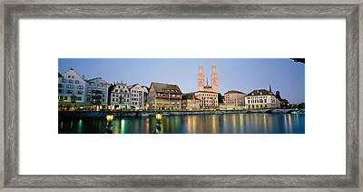 Evening, Cityscape, Zurich, Switzerland Framed Print