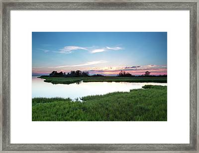 Evening Colors Fade Over A Marsh Framed Print