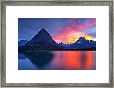 Evening Drama At Glacier Framed Print by Andrew Soundarajan