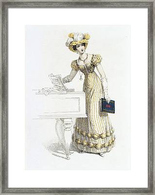 Evening Dress, Fashion Plate Framed Print by English School