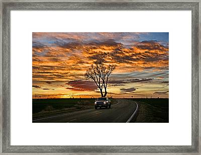 Framed Print featuring the photograph Evening Drive by Shirley Heier