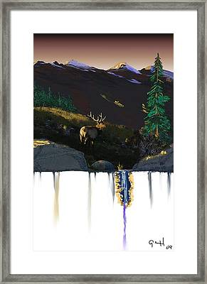 Evening Elk Framed Print