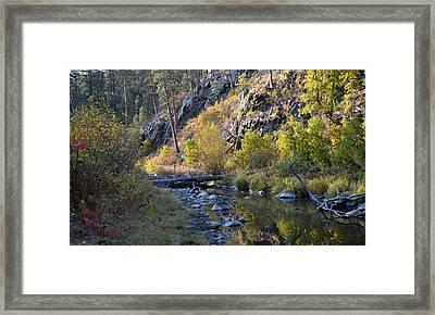 Evening Falls On Spring Creek Framed Print