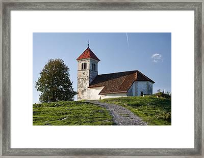 Evening Glow Over Church Framed Print