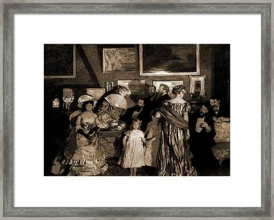 Evening In A Studio, Artists Studios, Entertaining Framed Print by Litz Collection