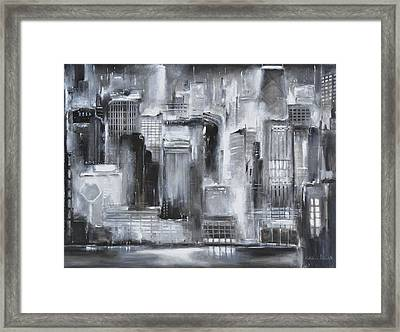 Evening In Chicago - Black And White Painting Framed Print