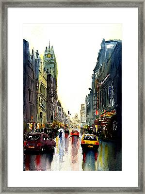 Framed Print featuring the painting Evening In The City by Steven Ponsford