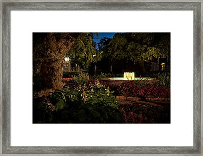 Evening In The Garden Prescott Park Gardens At Night Framed Print