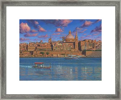 Evening In Valletta Harbour Malta Framed Print by Richard Harpum