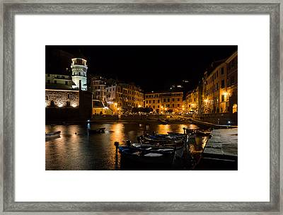 Framed Print featuring the photograph Evening In Vernazza - Cinque Terre Italy by Carl Amoth