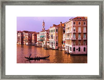 Evening Light And Gondola On The Grand Framed Print