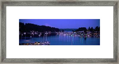 Evening Light On Boats Moored In Gig Framed Print by Panoramic Images